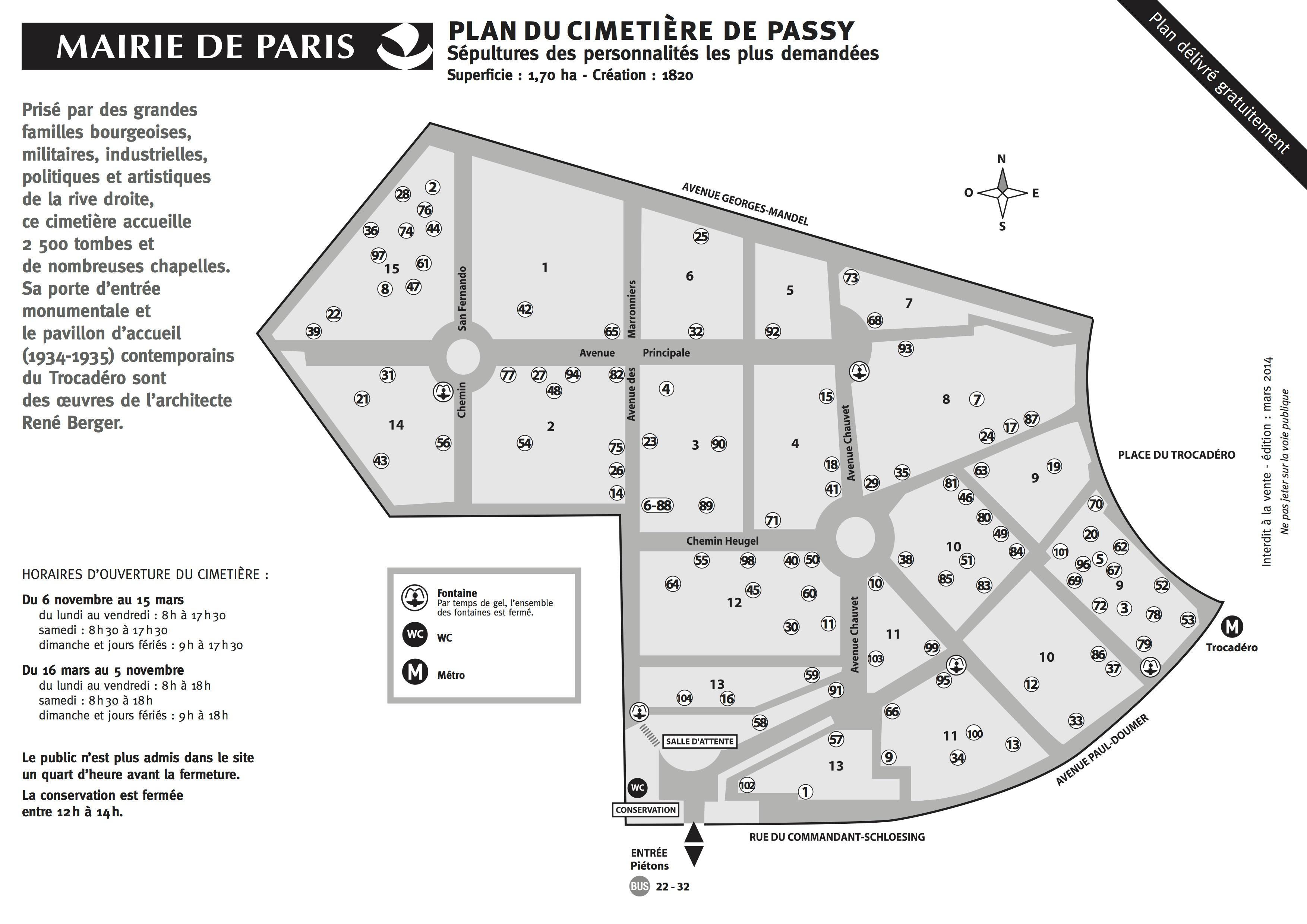Agence Cridel Paris 16, carte Cimetiere Passy