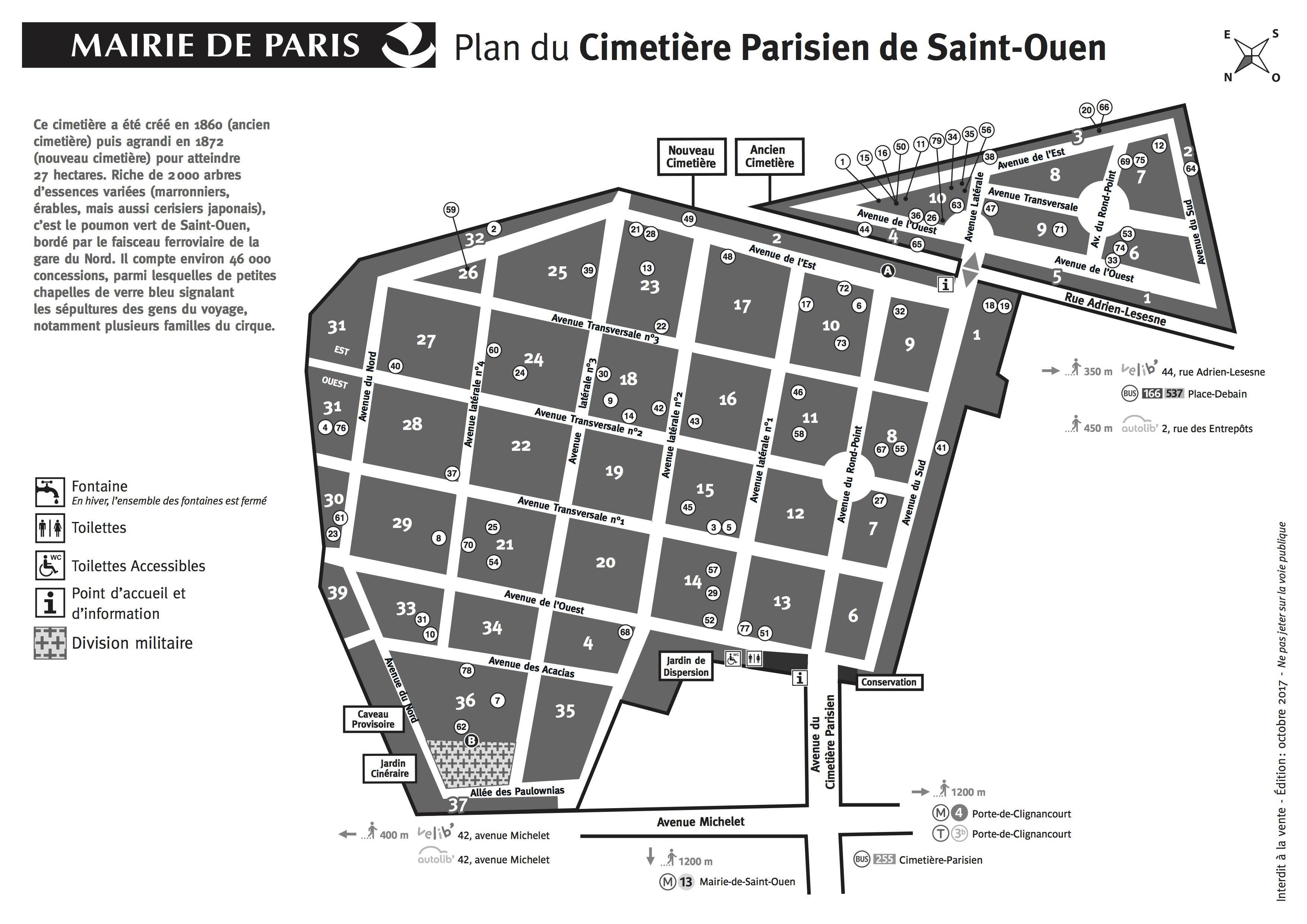 Carte Cimetière parisien de saint Ouen